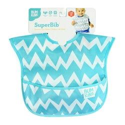 【淘氣寶寶】【美國Bumkins】防水兒童圍兜(一般無袖款6個月~2歲適用)-藍鋸齒 BKS-502【保證公司貨】