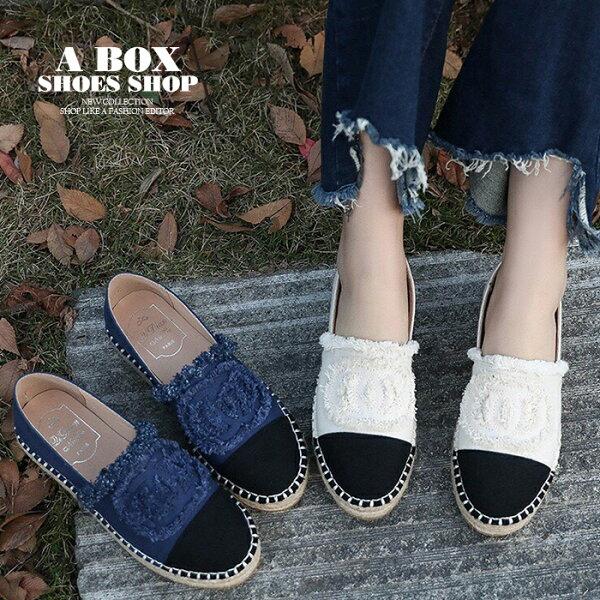 【KWD-11】套腳懶人鞋圓頭包鞋旅遊時尚休閒抽鬚布面拼接編織繩2色