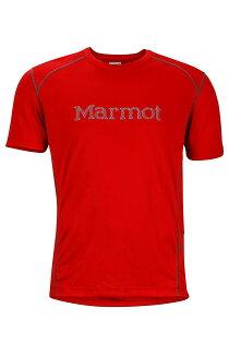 【【蘋果戶外】】marmot54300-6851紅美國男WindridgewithGraphicSS防曬快乾排汗上衣