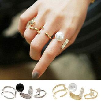 PS Mall 韓版珍珠水鑽五角星星復古戒指 指環三件套【G1789】