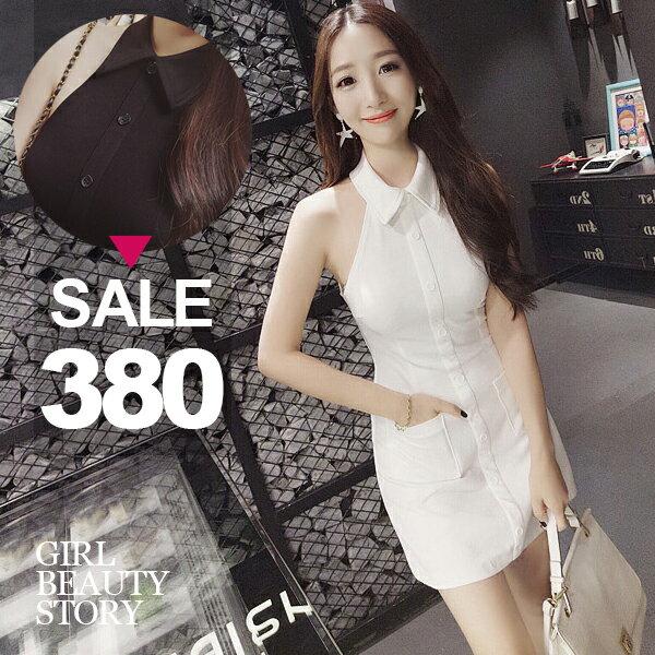 SISI【D7154】甜美優雅翻領無袖削肩修身顯瘦雙口袋連身短裙洋裝