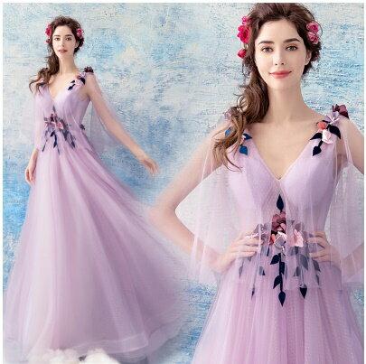 天使嫁衣:天使嫁衣【AE2390】粉紫色深V植網披肩紗立體花片釘珠長禮服˙預購訂製款