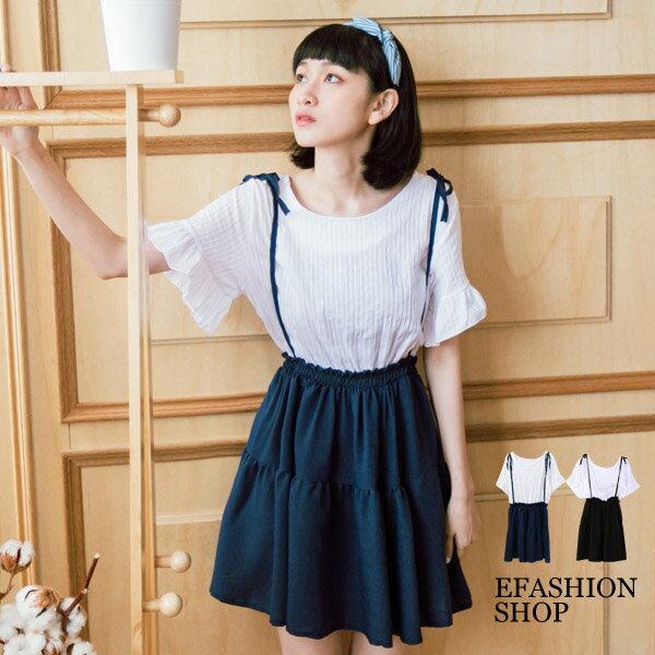 洋裝-壓紋荷葉袖假兩件式洋裝-eFashion預【H15712160】
