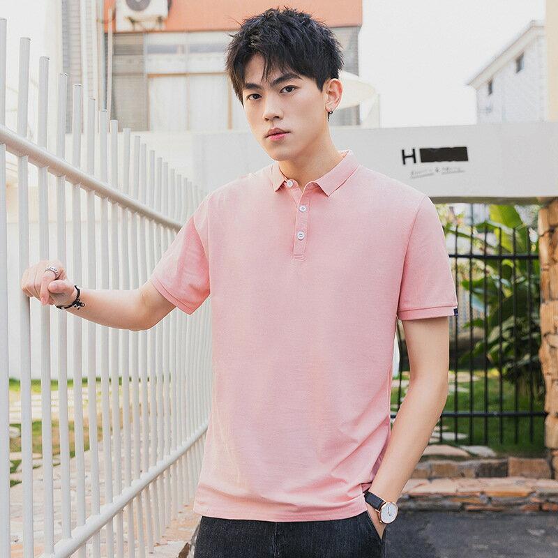 polo衫男短袖衣服夏季新款翻領打底男士純色白t恤半袖服裝廣告衫
