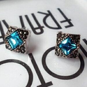 美麗大街【GE0368】奢華時尚簡約藍寶石正方形耳環飾品氣質淑女