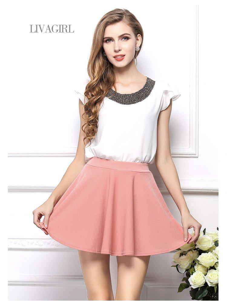 歐美新款手工釘珠荷葉袖雪紡上衣薄透雪紡衫短袖女T恤 2色 VAN1219