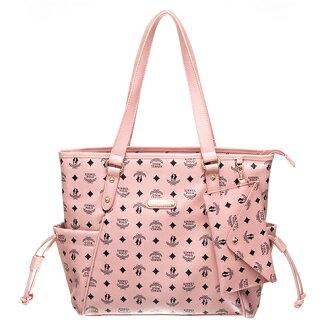 【XINWEI POLO】奢華LOGO風雙側口袋抽繩包附零錢包8129-粉