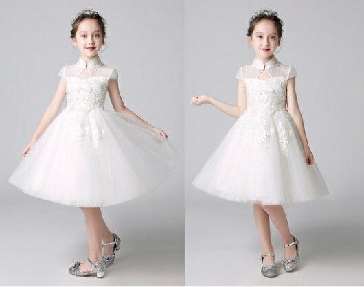 天使嫁衣【童L0242】白色立領包肩白紗花童舞台小禮服˙預購訂製款