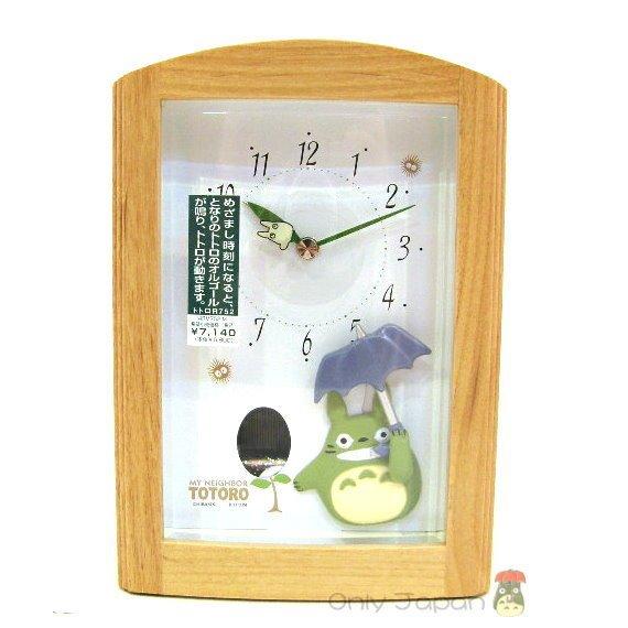 【真愛日本】5051100063 拿傘發芽音樂木鬧鐘  龍貓 TOTORO 豆豆龍 擺鐘 靜音鐘 收藏 日本帶回