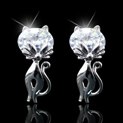 ~925純銀耳環水晶耳飾~可愛氣質貓咪 情人節生日 女飾品2色73hz29~ ~~米蘭 ~