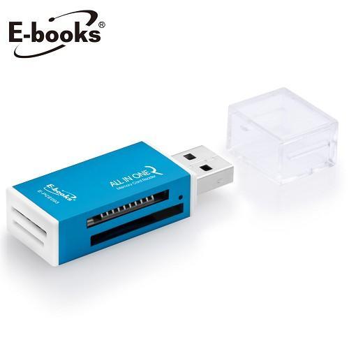 E-books鋁製40合1四槽讀卡機-藍T24【愛買】