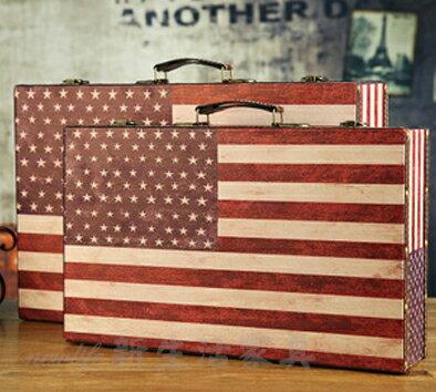 !!新生活家具!! 美國國旗 美式 收納箱 手提箱 攝影道具 箱子櫥窗裝飾 道具 復古 工業風 瑞德