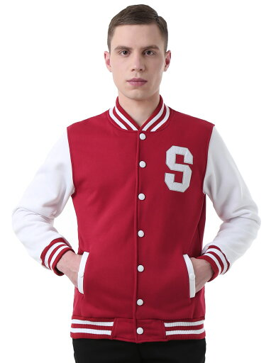 Unique Bargains Men Letter Pattern Button Front Baseball Long Sleeve Jacket Burgundy (Size XL) 82591abc2e4af93e0128f9ea784ab57a