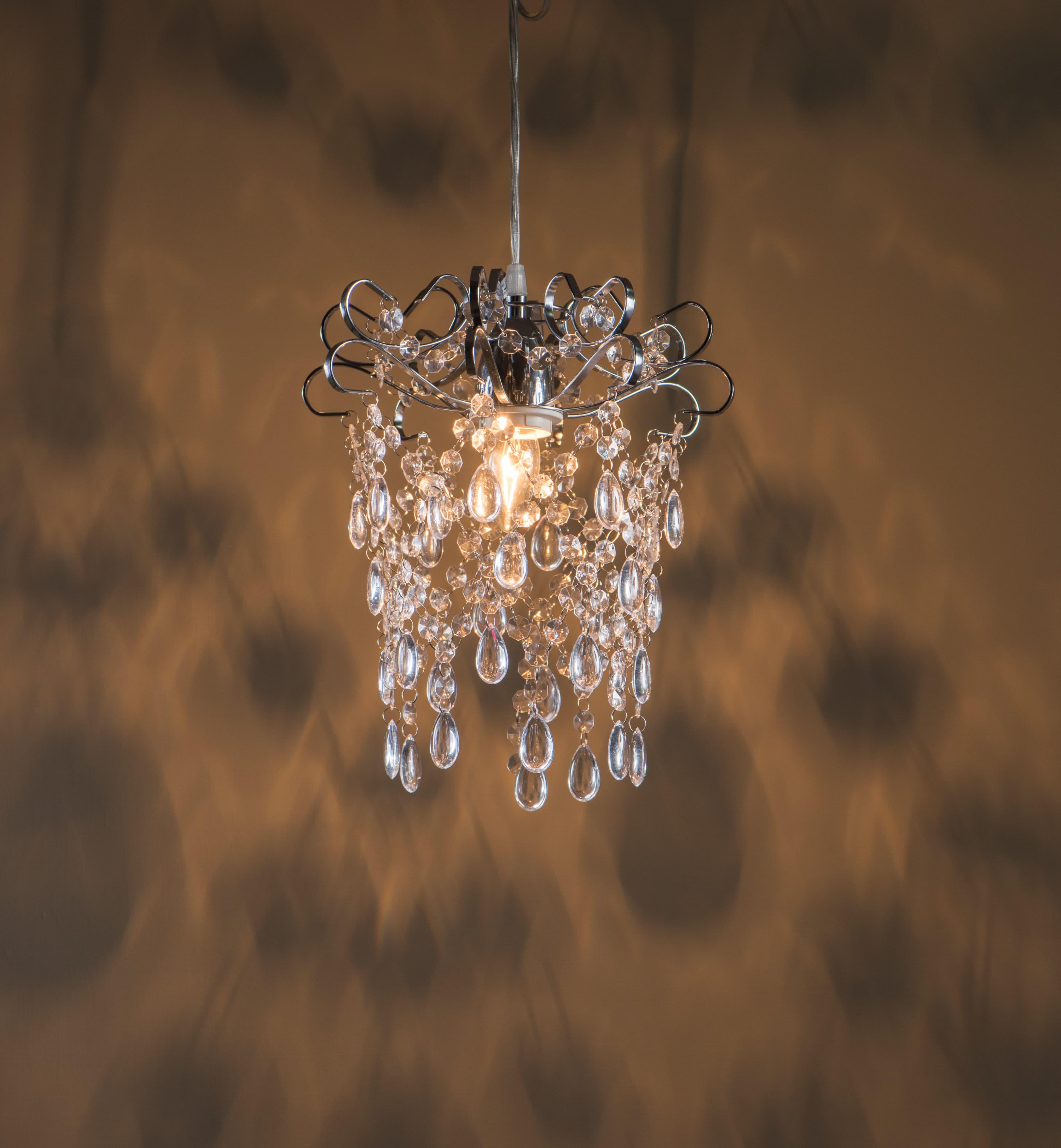 鍍鉻扁鐵框透明壓克力珠吊燈-BNL00048 3