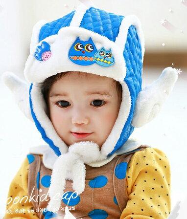 Lemonkid◆秋冬超萌小Q翅膀親子貓頭鷹質感菱格保暖造型兒童雷鋒護耳帽-藍色