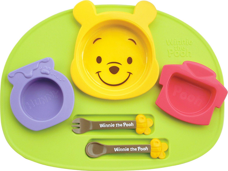 X射線【C307115】小熊維尼塑膠餐盤餐具6件組 ,餐盤/餐碗/玻璃碗/陶瓷碗/交換禮物/迪士尼/Baby