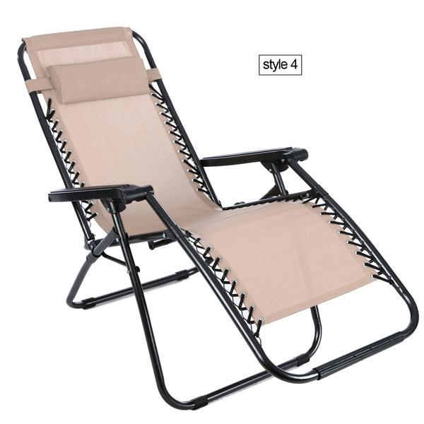 Folding Zero Gravity Reclining Lounge Portable Garden Beach Camping Outdoor Chair 2