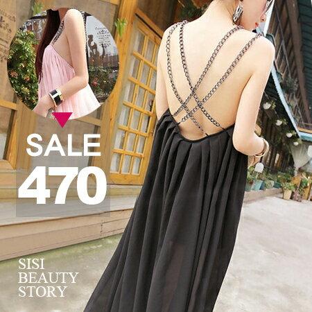 SISI【D6032】絕美性感交叉金屬鍊肩帶條露背大傘襬雪紡連身裙洋裝