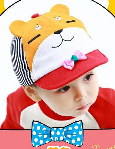 Lemonkid◆可愛紳士眯眯熊立體耳朵造型春秋小鴨舌兒童帽-黃色
