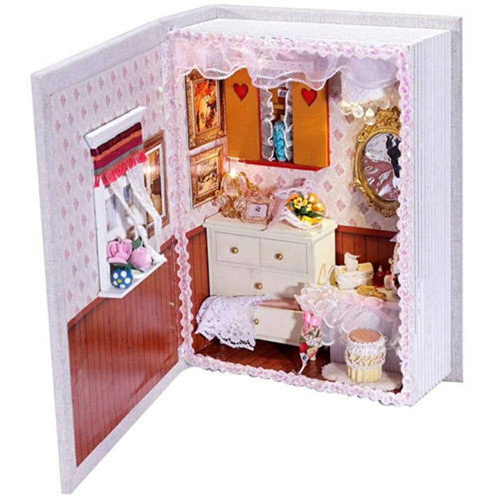 【WT16122310】 手製DIY小屋 書本造型 手工拼裝房屋模型建築 含展示盒-閨密日記