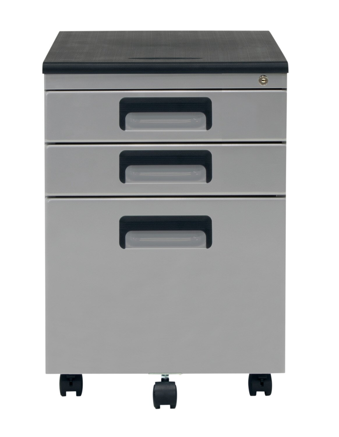 Offex 3 Drawer Metal Rolling File Cabinet With Locking Drawers Silver Black