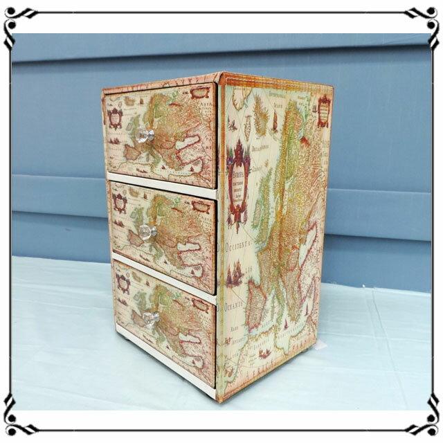 木製小斗櫃小3抽《LN2》世界地圖三抽櫃 小型3抽櫃 皮革收納櫃 兒童玩具櫃 辦公室◤彩虹森林◥