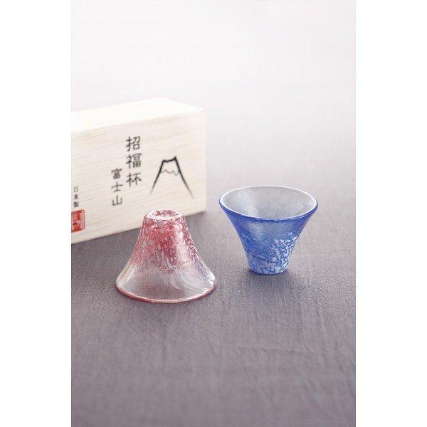 日本【木本硝子】富士山招福杯 冷酒杯 紅藍對杯 35ml