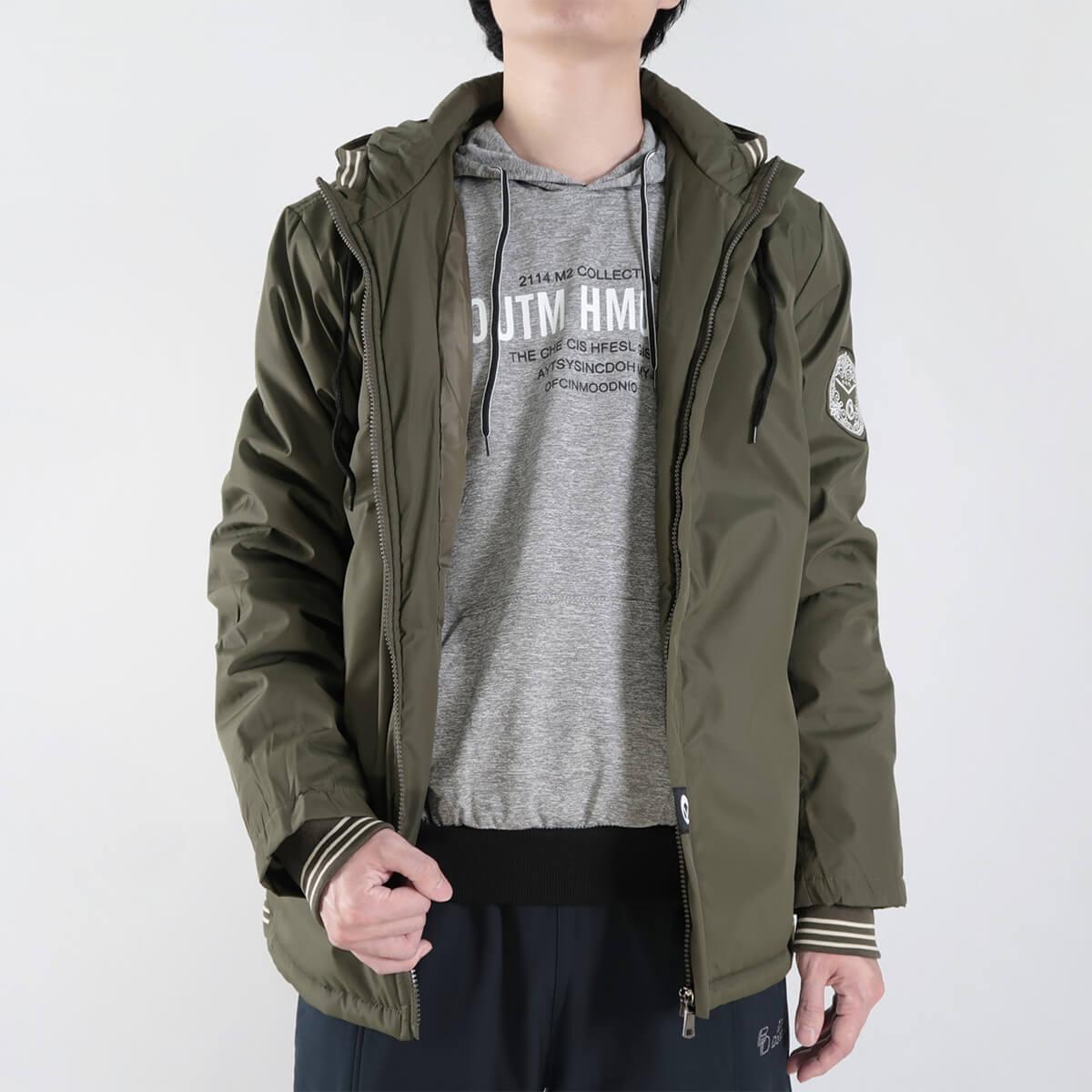 厚舖棉保暖風衣外套 時尚夾克外套 保暖外套 騎士外套 防風外套 休閒外套 鋪棉外套 黑色外套 時尚穿搭 WARM PADDED JACKETS WINDBREAKER (321-8783-01)軍綠色、(321-8783-02)黑色 2L 3L(胸圍50~52英吋) [實體店面保障] sun-e 1