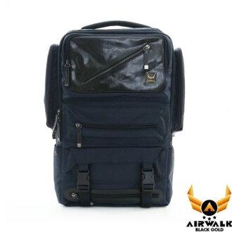 AIRWALK - 【禾雅】頂級黑金皮標 閃靈系列 菱格雙料皮感箱型機器人 超大容量 後背包 - 閃靈藍