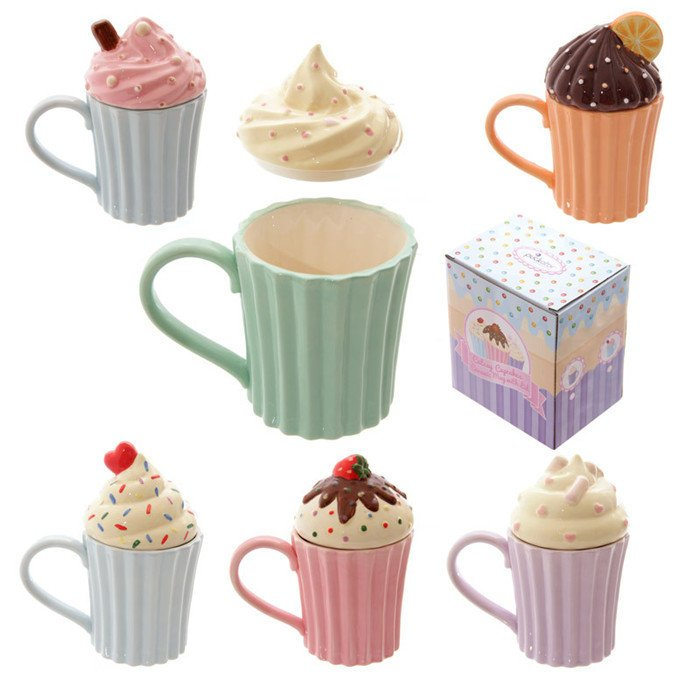 =優 =Cutesy Cupcake Ceramic Mug with Lid 蛋糕陶瓷馬