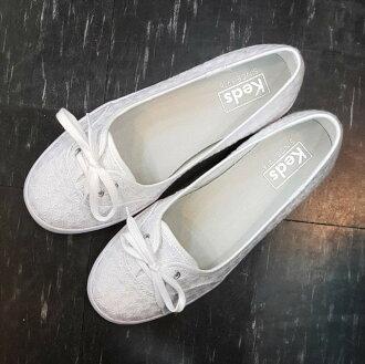 Keds 娃娃鞋 懶人鞋 白色 全白 帆布 刺繡 雛菊 繡花 小花 蝴蝶結 限時贈送Keds購物袋