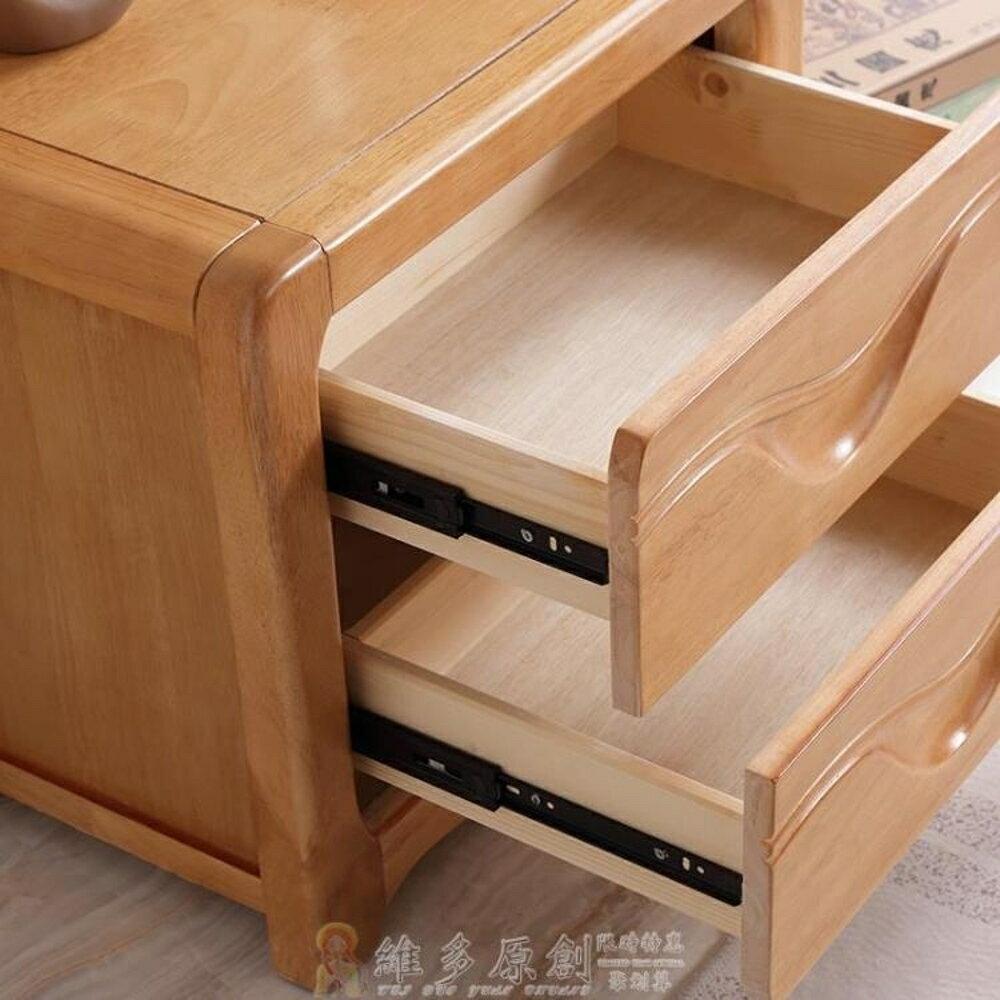 床頭櫃 收納櫃 申虹木業實木床頭櫃現代簡約床頭櫃中式臥室床邊收納儲物迷你小櫃 維多 1