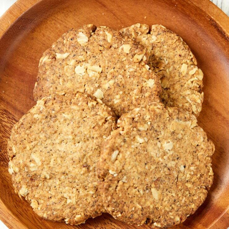 桂花紅茶燕麥全素手工餅乾-無奶、蛋,使用初榨橄欖油的全素餅乾,4片85公克【狐狸加 】
