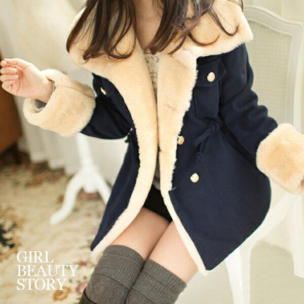 SISI【C3049】學院風加厚大翻領毛毛內裡雙排扣顯瘦外套