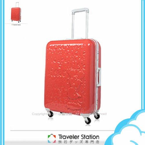 【騷包館】【CROWN皇冠】19.5吋TSA海關鎖 Disney夢想新版米奇硬殼旅行箱 日出紅