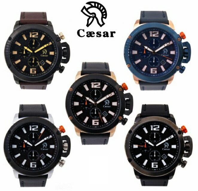 【CAESAR】凱薩王 德國品牌 三眼 皮革錶帶 CA-1008 (Palace store)