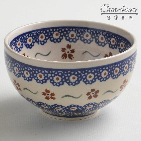 波蘭陶紅點藍花系列餐碗飯碗湯碗碗公12cm波蘭手工製
