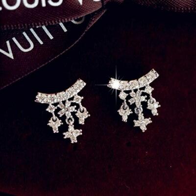 ~925純銀耳環鑲鑽耳飾~ 甜美氣質淑女情人節生日 女飾品73du23~ ~~米蘭 ~