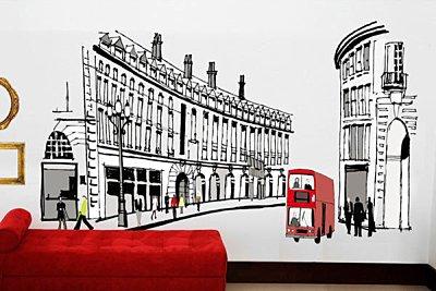 BO雜貨【YV2310】創意可移動壁貼 牆貼 背景貼 時尚組合壁貼 璧貼 磁磚貼 羅馬街道