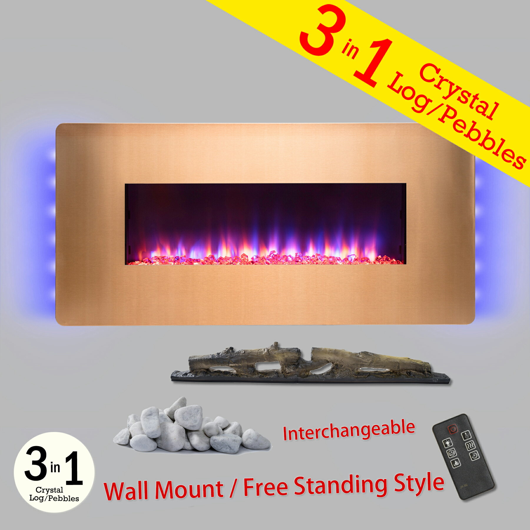 "AKDY 36"" Freestanding Wall Mount Electric Fireplace 3-in-1 Fuel Bed w/ Remote Control 0"