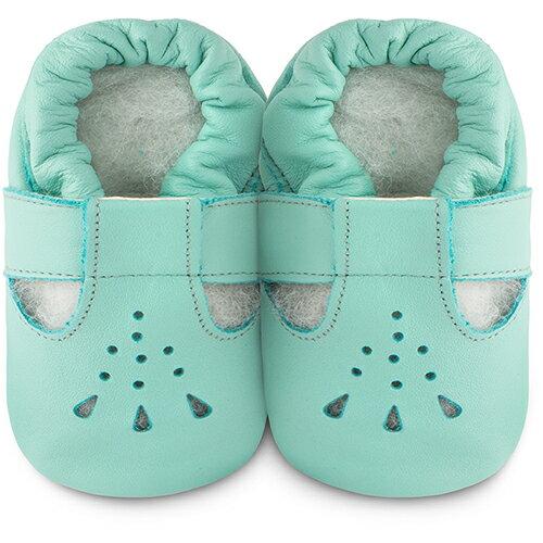 【HELLA 媽咪寶貝】英國 shooshoos 安全無毒真皮手工鞋/學步鞋/嬰兒鞋_湖水綠茉莉_101026 (公司貨)
