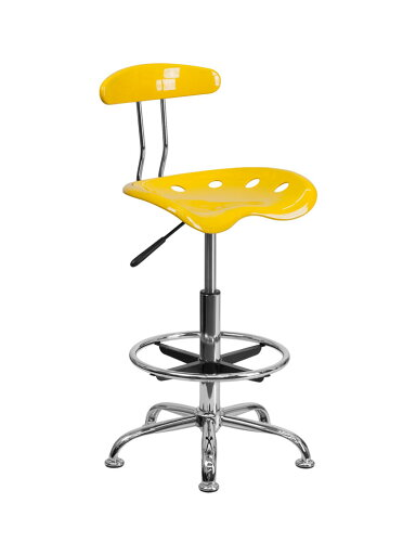 Offex Vibrant Orange-Yellow and Chrome Drafting Stool with Tractor Seat [OF-LF-215-YELLOW-GG] 344a68fa5440e697f51918e00d2494f0