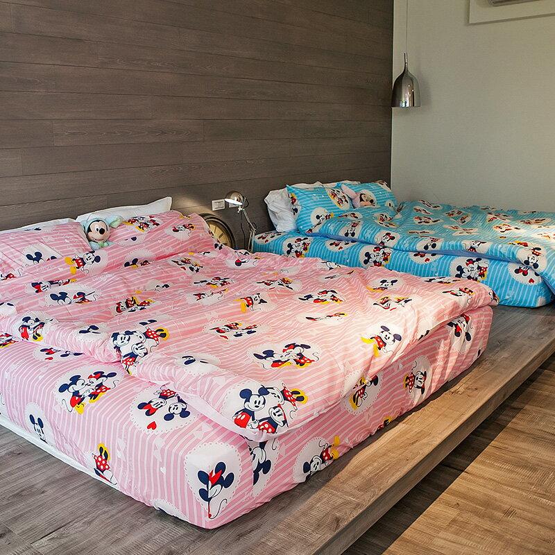 床包  雙人加大~米奇手牽手~粉~含兩件枕套,磨毛多工法處理,迪士尼 ,戀家小舖 製 ~
