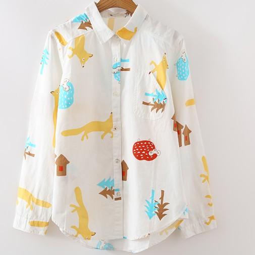 【愛家便宜購】流行卡通動物長袖襯衫