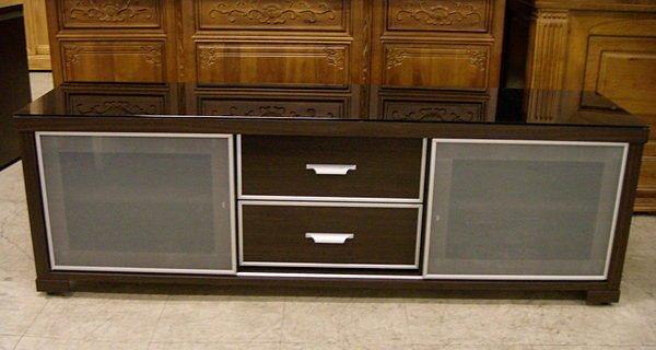 ~尚品傢俱~ 735~04 胡桃5尺烤黑玻璃電視櫃長櫃矮櫃^~ 尺寸^~
