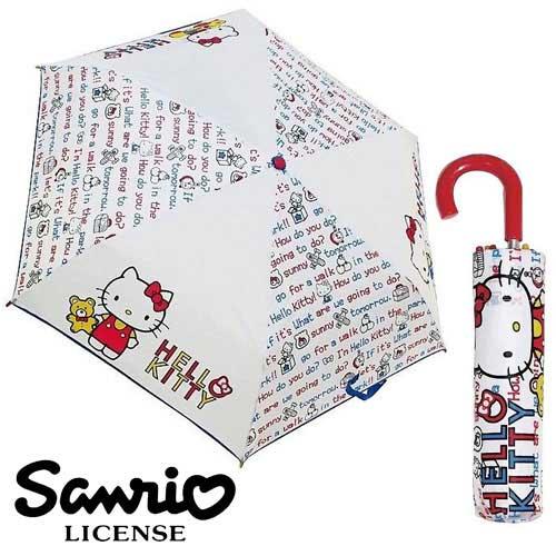 【日本進口正版】Hello Kitty 英文字母款 輕量型 晴雨傘 折疊傘 附傘套 凱蒂貓 三麗鷗 - 059807