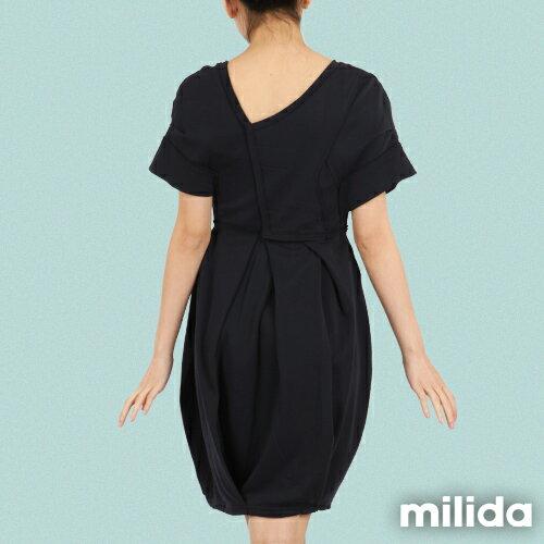 【Milida,全店七折免運】-早春商品-V領款-花苞百褶洋裝 1