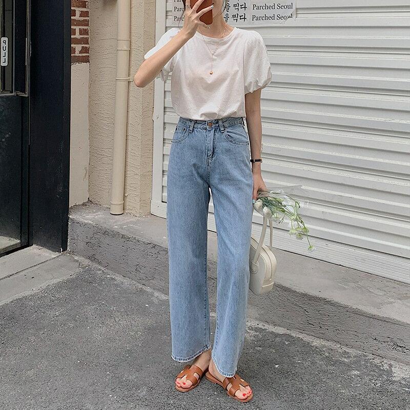 法式珍珠鏈條t恤女2021夏季新款泡泡袖休閒寬鬆上衣