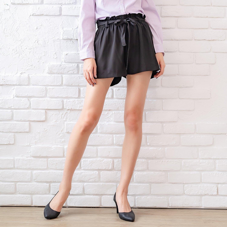 短褲--輕甜優雅俏麗滿點百搭凸點雪紡雙口袋寬口鬆緊腰綁帶花苞短褲(黑XL-4L)-R167眼圈熊中大尺碼 0