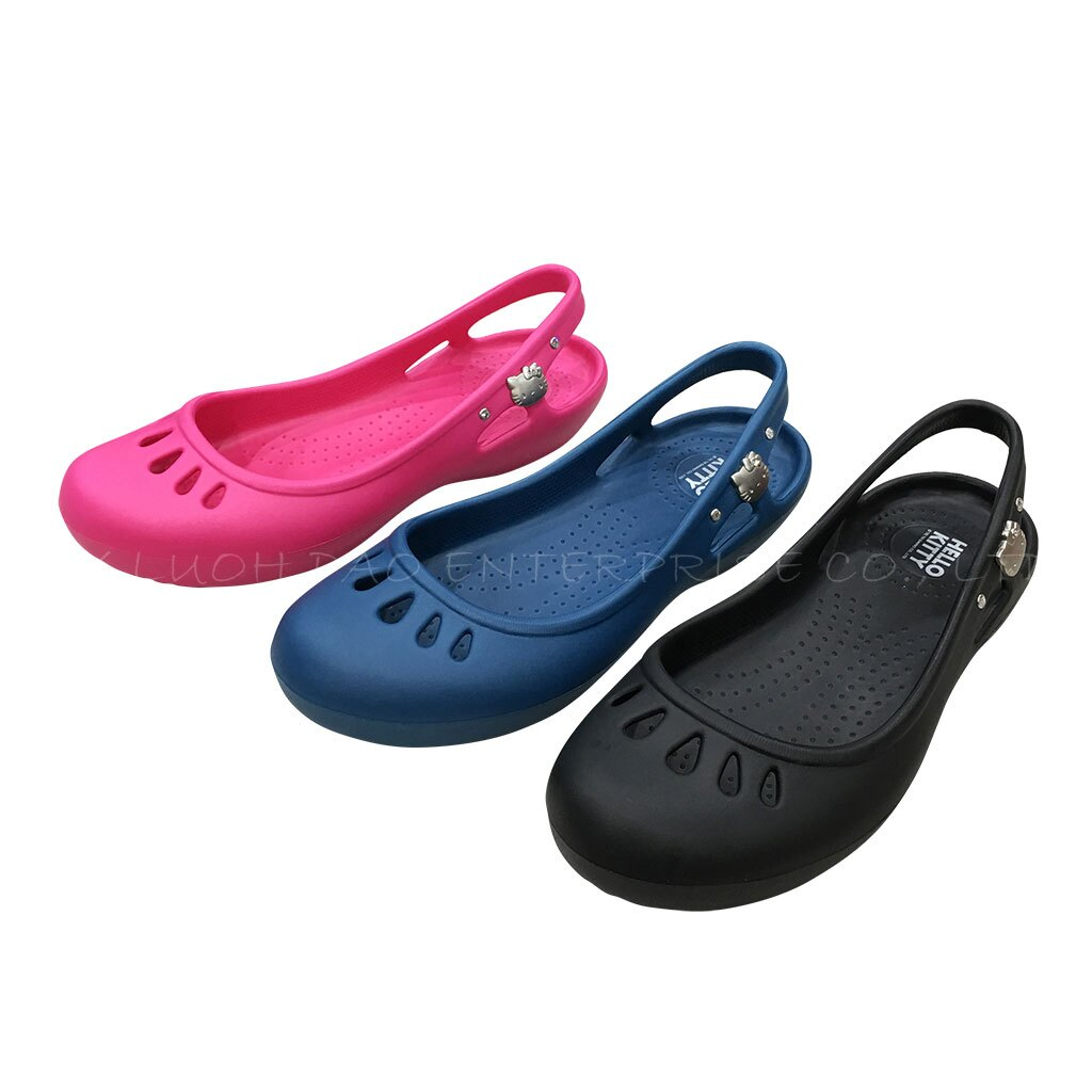 HELLO KITTY 凱蒂貓 916122 防水 雨天 玩水必備 平底 娃娃鞋 休閒鞋 黑/桃/藍